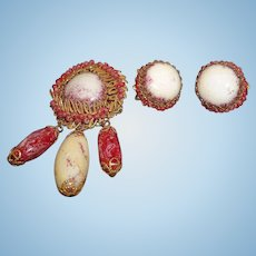 Vintage Miriam Haskell Red and White Glass Beaded Dangle Brooch and Earring Set