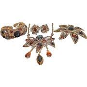 Vintage Hollycraft Rhinestone Necklace Bracelet Earrings Brooch Parure