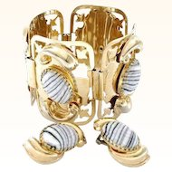 Vintage Large Chunky Black  White Art Glass Cabochons Bracelet Earring Set