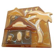 Vintage Geometric Abstract Layered Lucite House with Palm Tree  by Lucinda
