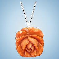 Vintage Carved Butterscotch Bakelite Rose Pendant on Silvertone Metal Chain