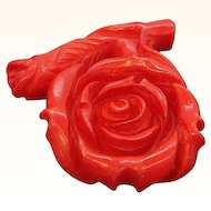 Vintage Dimensional Carved Red Stone Rose Pendant