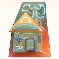 Vintage Lucite Abstract Geometric House Pin by Lucinda