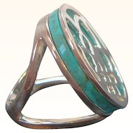 Vintage Round Blue Stone Sterling Silver Ring Thailand Size 5.5