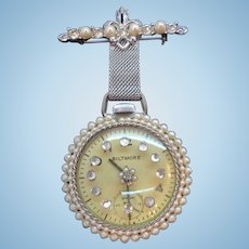 Vintage Biltmore Pocketwatch Dangle Pendant Brooch Rhinestones Imitation Pearls