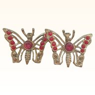 Vintage Red Rhinestone Goldtone Metal Butterfly Scatter Pins