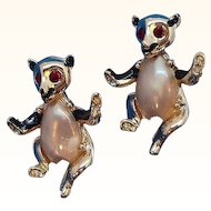 Vintage Pair of Imitation Pearl Belly Bear Scatter Pins
