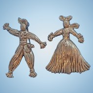 Vintage Silvertone Metal  Scarecrow Figures Straw Man & Woman Scatter Pins