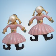 Vintage Dutch Girls Pink Enameled Imitation Pearl Scatter Pins