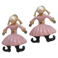 Vintage Dutch Girls Pink Enameled Imitation Pearl Scatter Pins