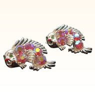 Vintage Silvertone Metal Pink Aurora Rhinestone Dimensional Fish Scatter Pins