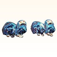 Vintage Blue Iridescent Enameled Pekinese Dogs Scatter Pins