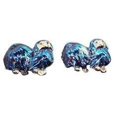 Vintage Blue Iridescent Enameled Pekinese Dogs Scatter Pins