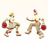 Vintage Scatter Pins Male & Female Figures Bowling Enameled Metal with Rhinestone Accents