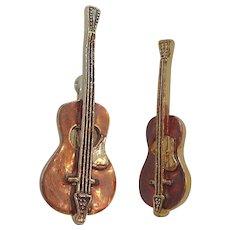 Vintage Goldtone Metal Coppertone Brown Enameled Violin Scatter Pins
