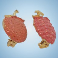 Vintage Goldtone Metal Enameled Orange & Strawberry Fruit Scatter Pins