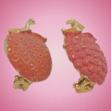 Vintage Goldtone Metal Enameled Orange & Strawberry Fruit Scatter Pins