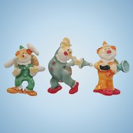Vintage Enameled Metal Trio Of Clowns Scatter Pins Signed J.J.