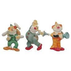 Vintage Enameled Metal Trio Of Clowns Scatter Pins Signed J.J.