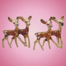 Vintage Goldtone Enameled Metal Deer Scatter Pins