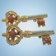 Vintage Goldtone Metal Key Scatter Pins Orange Colored Cabochon Stones Signed Gerrys