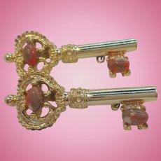 Vintage Goldtone Metal Key Scatter Pins Orange Colored Cabochon Stones Signed Gerrys