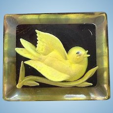 Vintage Clear Lucite Yellow Filled Bird Brooch