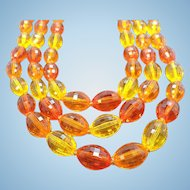 Vintage Triple Strand Orange & Yellow Faceted Lucite Beaded Necklace