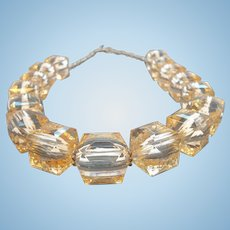 Vintage Champagne Colored Cube Shaped Faceted Lucite Beaded Necklace