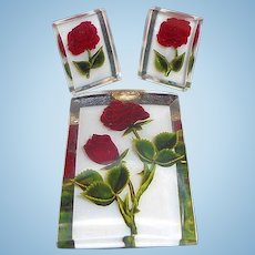 Vintage Clear Lucite Filled with Red Roses Brooch & Screw On Earring Set