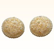 Vintage Creme Colored Domed Thermoset Plastic Aurora Rhinestone Flower Clip on Earrings