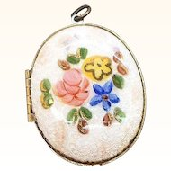 Vintage Oval Shaped Glossy Enameled Floral Locket Pendant
