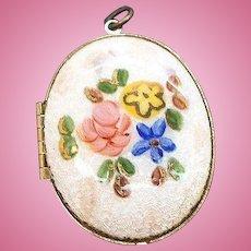 Vintage Oval Shaped Glossy Enameled Floral Locket Pendant