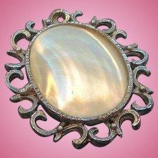 Vintage Large Silvertone Metal Mother of Pearl Brooch
