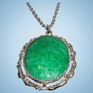 Vintage Large Green Oval Shaped Cabochon Pendant Necklace