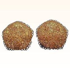 Vintage Lacy Domed Filigree Goldtone Metal Geometric Shaped Clip on Earrings