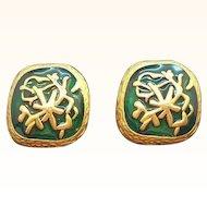 Vintage Textured Goldtone Metal Green Enameled Abstract Designs Clip on Earrings