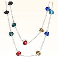 Vintage Silvertone Metal Chain Necklace With Multi- Colored Faceted Crystal Beads
