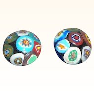Vintage Multi Colored Domed Button Style Millefiori Glass Clip on Earrings