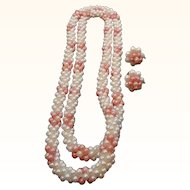 Vintage Pink & White Crocheted Imitation Pearl Beaded Necklace & Scew on Earrings
