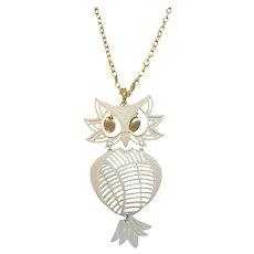Vintage Large Articulated Dangle Owl Pendant Necklace Signed Alan