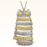 Vintage Celebrity Huge Dangle Articulated Owl Pendant Necklace