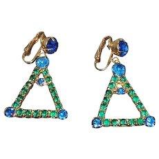 Vintage Green & Blue Rhinestone Triangular Shaped Dangle Clip on Earrings