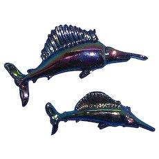 Vintage Pair of  Blue Iridescent Enameled Shark Sword Fish Scatter Pins