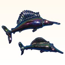 Vintage Pair of  Blue Iridescent Enameled Shark Sword Fish Scatter Pins