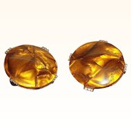 Vintage Golden Honey Lucite Cabochon Button Style Clip on Earrings