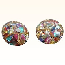 Vintage Multi Colored Metallic Confetti Lucite Button Style Clip On Earrings