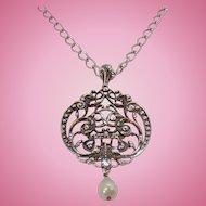 Vintage Large Avon Silvertone Medallion Pendant Necklace Dangle Imitation Pearl MIB Circa 1970s
