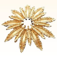 Vintage Textured Goldtone Starburst Brooch MIB