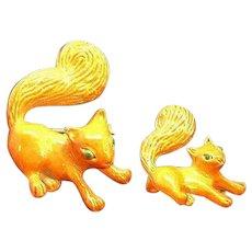 Vintage Gerrys Orange Brown Enameled Squirrels Scatter Pins